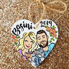 Check out the new ornament design hitting the shop later this week! ❤❤❤ One huge benefit of having my own art business is getting to use my… Decoration Christmas, Personalized Christmas Ornaments, Christmas Wood, Christmas Projects, Christmas Gifts, Xmas, Large Family Portraits, Family Photos, Wood Plank Art
