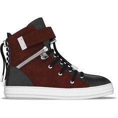 Myswear 'Regent' hi-top sneakers ($940) ❤ liked on Polyvore featuring shoes, sneakers, red, snakeskin sneakers, red shoes, crocodile sneakers, lace up sneakers and red high tops
