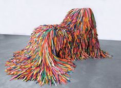 textural idea; chair actually made of balloons; Happy Material by Pini Leibovich in New Olds show (2011) at Design Museum Holon (Israel)