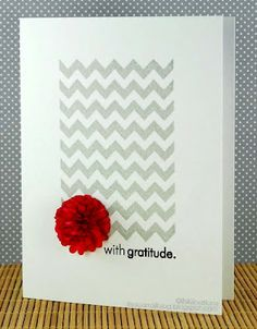 With Gratitude Card :: I heart the colors, the chevron stamp & the red fluffy flower :: INKlinations