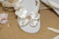 Beach Wedding Shoes Sandals   Bridal Flip Flops- Bridal Sandals- Beach Wedding- Ivory Flip Flops ...