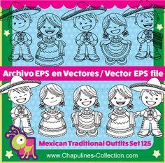 China Poblana y Charro, Vectores EPS, Trajes Mexicanos , Independencia de México, Revolución Mexicana, 5 de Mayo Set 125