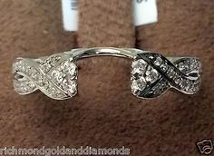 White Gold Diamond Solitaire Wrap Ring solitaire enhancer bypass shank Vintage