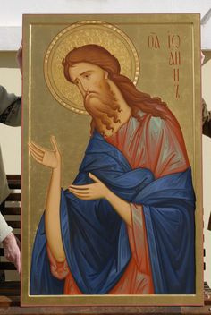Иоанн Предтеча icon of St John by hands of Anton Daineko/ From triptich for cathedral in Grodno . Religious Images, Religious Icons, Religious Art, Sign Of The Cross, Russian Icons, Jean Baptiste, Byzantine Icons, Early Christian, Dibujo
