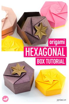This tutorial will teach you how to make a six sided hexagonal origami gift box. Using one sheet of paper for each the box and lid. You can customise the top of the lid in many ways too. via box one sheet Origami Hexagonal Gift Box Tutorial - Paper Kawaii Origami Box Tutorial, Origami Gift Box, Paper Crafts Origami, Origami Art, Paper Crafting, Origami Box With Lid, Origami Bookmark, Origami Flowers, How To Origami