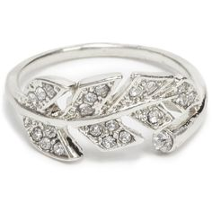 ShoeDazzle Rings Leaf Me Alone Womens Silver ❤ liked on Polyvore featuring jewelry, rings, silver, silver wrap ring, leaves ring, silver mid finger rings, top finger rings and mid knuckle rings