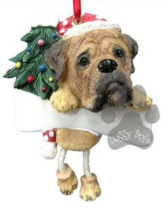 Dangling Leg Bullmastiff Christmas Ornament http://doggystylegifts.com/products/dangling-leg-bullmastiff-christmas-ornament