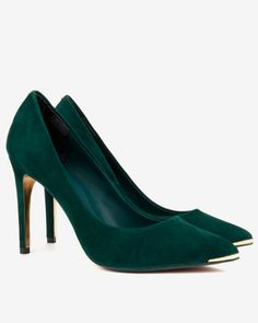 Pointed leather court shoes - Dark Green | Shoes | Ted Baker