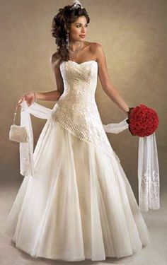 ╰☆╮Wedding dresses ╰☆╮ This is different. Not digging the ivory, but it's not a bad looking bodice and not too frilly