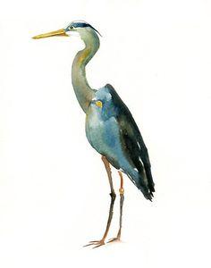 GREAT BLUE HERON 5x7 Print -Art Print-Bird Watercolor Print-Giclee Print-, by Dimdimini, in Italy, on Etsy