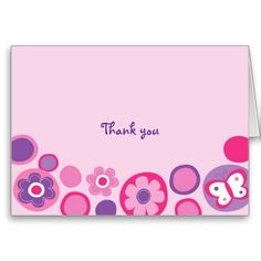Pop Flower Butterfly Thank You Note Cards