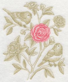 Camellia and Juncos (Toile) design (L4359) from www.Emblibrary.com
