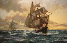 Montague Dawson (1895-1973), The Escaping Smuggler, c. 1960. Oil on canvas, 20 X 30 inches.