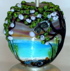 WSTGA~DRAGONFLY LAGOON~SPRING TREE FLORAL handmade lampwork focal glass bead SRA #WindSweptTreeGlassArt #Lampwork By Molly Cooley