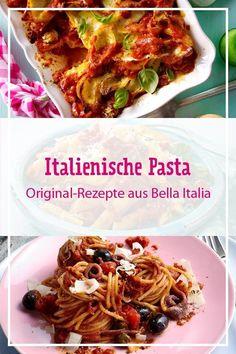 Wir lieben italienische Pasta! Denn jeder Teller mit #Farfalle, #Penne, #Spaghetti, #Tortellini & Co. bringt ein bisschen mehr Urlaubsfeeling in unseren Alltag. Diese köstlichen Nudelrezepte aus Bella Italia erobern unsere Herzen im Sturm. #pasta #pastarezepte #italienischepasta #italienisch #italien #urlaubsküche #mediterran #bellaitalia #nudeln #nudelgerichte #rezepte #rezeptideen Tortellini, Penne, Italian Cooking, Teller, Spaghetti, Tacos, Mexican, Ethnic Recipes, Food