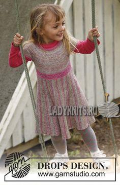 Платье с круглой кокеткой спицами для девочки Twirly Girlie от Дропс