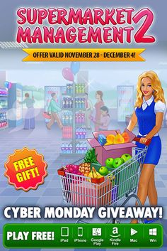 Cyber Monday Giveaway! Do you have what it takes to run a busy supermarket? Then download Supermarket Management 2, the long-awaited sequel to Supermarket Management, absolutely FREE through December 4th on ALL platforms! As a manager of a small roadside shop, serve customers quickly, earn coins and invest them into the development of your shiny supermarket. Use your skills to grow your business and make your grocery chain a smashing success! Learn more: http://www.g5e.com/sale