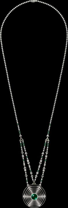 "CARTIER. ""Pill box"" Necklace - white gold, emeralds, black lacquer, diamonds."
