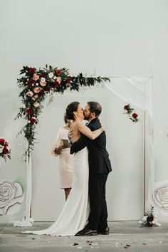 New Children's Museum San Diego // First Kiss // Hanging Terrariums // Copper Arbor // Wedding Ceremony // Blush and Burgundy Florals // Pink // Red // Flowers Hanging Flowers Wedding, Floral Wedding Decorations, Blush Wedding Flowers, Wedding Ceremony Decorations, Arch Wedding, Wedding Church, Wedding Bells, Burgundy And Blush Wedding, Neutral Wedding Colors