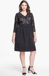 Eliza J Mixed Media Fit & Flare Dress (Plus Size)