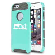 Apple iPhone 6 Shockproof Impact Hard Case Cover Cowgirl Praying Cross Horse (Teal). Dual layer, 2 piece case. High quality hard plastic outer shell with a shock absorbing soft rubber inside skin. Easy slide on installation. Camera hole cutout on back and full access to all ports and connections.