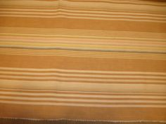"""Vintage Used French Ticking/Upholstery Fabric in Light Tans Cream Pink Blue Taupe Yellow Stripes 14"""" by 40"""" on Etsy, $13.00"""