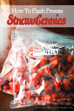 Here is how to freeze your strawberries so they don't end up in one big clump.  Perfect for morning smoothies!  |  mynameissnickerdoodle.com