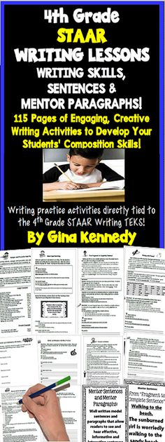 4th Grade STAAR writing lessons for the entire year! Lessons, guided practice, independent practice, mentor sentences, mentor paragraphs, writing prompts and much more! With this resource you will find a multitude of writing activities that will help your students create interesting and informative compositions. From transitions, similes and metaphors, pronouns, adverbs, conjunctions and more, this is a must have for 4th grade language arts teachers . $