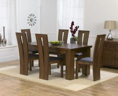 Pacific dark solid oak medium dining table and 6 arizona chairs set Wooden Dining Table Designs, Dining Room Furniture Design, Dinning Table Design, Simple Dining Table, Wooden Dining Tables, Dinning Set, Oak Dining Sets, Oak Dining Room, Solid Oak Dining Table