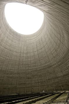 Inside an inactive nuclear cooling tower