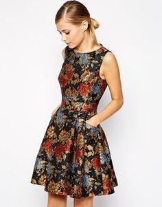 Karen Millen Skater Dress in Floral Jacquard