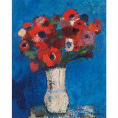 Bernard Cathelin French, 1919-2004 Anemones sur Fond Bleu, 1963 | Oil on canvas  31 7/8 x 25 5/8 inches (81 x 65 cm)