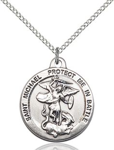 Michael the Archangel Pendant (Sterling Silver) by Bliss Sterling Silver Chains, Sterling Silver Pendants, St Michael Pendant, Patron Saints, Gift Store, Silver Pendant Necklace, Pocket Watch, Archangel, Paramedics