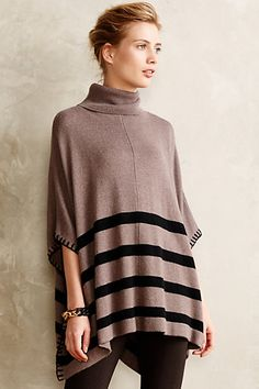 Brown Multicolor Colorblock Hem-Striped Poncho Shawl Sweater #4113465699203 @ Anthropologie $