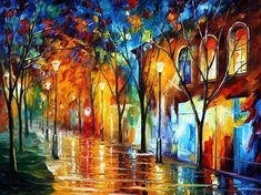 """Chill Energy — PALETTE KNIFE Cityscape Modern Wall Art Textured Oil Painting On Canvas By Leonid Afremov - Size: 40"""" x 30"""" (100 cm x 75 cm)"""