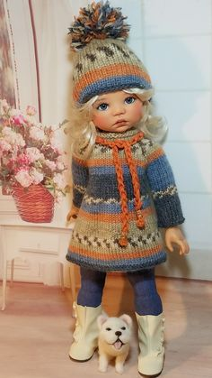 ou trouver le modele pour le tricoter? Knitting Dolls Clothes, Crochet Doll Clothes, Knitted Dolls, Crochet Dolls, Crochet Baby, Our Generation Dolls, American Girl Clothes, Clothes Crafts, Vintage Dolls