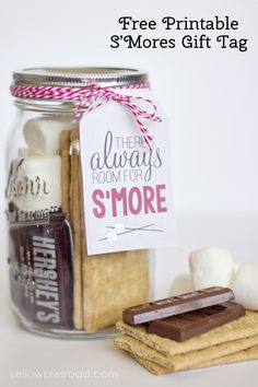 Free Printable S'MORES Gift Tag!!! Bebe'!!! Great gift idea...Smores' gift!!!