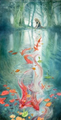Veary beautiful drawing! Maybe one of my favorites... - Girl an carps
