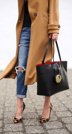 #fall #fashion / camel coat + ripped denim
