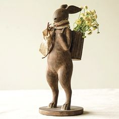 Brown Rabbit Statue With Basket Backpack