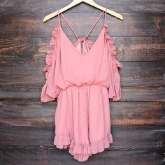 peek a boo shoulder romper with ruffle hem in dusty pink