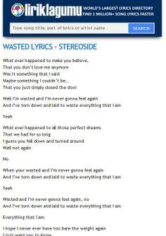 WASTED Lyrics - STEREOSIDE http://www.liriklagumu.com/4591311/wasted-lyrics-stereoside/