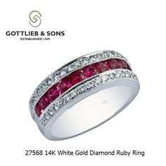 This stunning 14K White Gold Diamond Ruby ring is perfect for Valentine's Day.  This red #ruby ring features channel set round rubies framed by two rows of bead set round #diamonds. Visit your local #GottliebandSons retailer and ask for style number 27568. http://www.gottlieb-sons.com/product/detail/27568