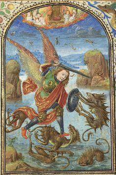ca. 1469-1490 - Saint Michael (detail) by Lieven van Lathem for Prayer Book of Charles the Bold