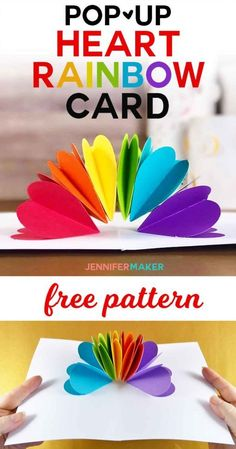 Make a Pop-Up Heart Rainbow Card - Jennifer Maker - Make a Pop-Up Heart Rainbow Card - Jennifer Maker Claudia sweetgermangurl Craft Ideas You can make this EASY pop-up card with my free patterns! Pop Up Valentine Cards, Pop Up Cards, Valentine Day Crafts, Heart Pop Up Card, Heart Cards, Pop Up Card Templates, Origami Templates, Rainbow Card, Kids Cards