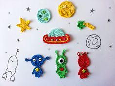 Outer space crochet applique                                                                                                                                                                                 More