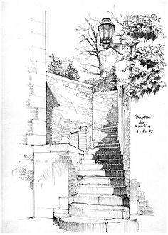 Liège, impasse des Ursulines by gerard michel, via Flick Sketch Painting, Drawing Sketches, Art Drawings, Pencil Drawings, Sketchbook Drawings, Landscape Sketch, Landscape Drawings, Architecture Sketchbook, Art And Architecture