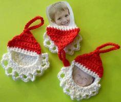 Santa Crochet Frame Ornament Free Pattern