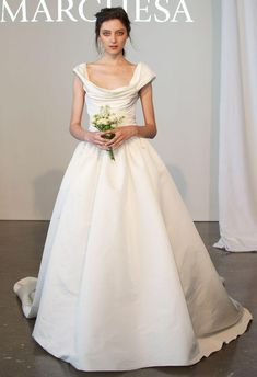 Marchesa 'V11816' size 2 used wedding dress front view on model