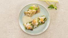 stoofpotje met scampi en citroengras, venkelconfituur en broccolicouscous